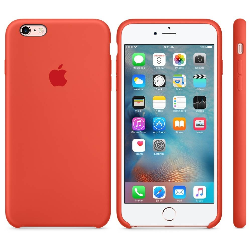 Capac protectie spate Apple Silicone Case Orange pentru iPhone 6s Plus, MKXQ2ZM A