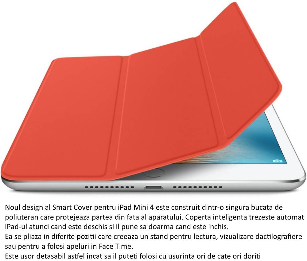 Husa Stand Apple Smart Cover pentru iPad mini 4, MKM22ZM A Orange
