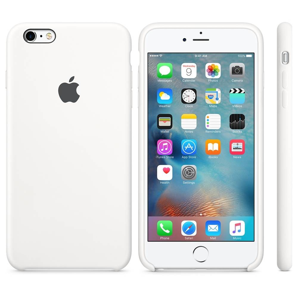 Capac protectie spate Apple Silicone Case White pentru iPhone 6s Plus, MKXK2ZM A 1