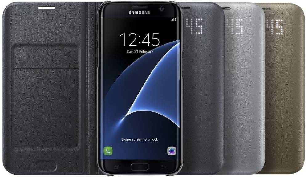 Husa protectie Led View Cover pentru Samsung Galaxy S7 Edge (G935), EF-NG935PBEGWW Black 0