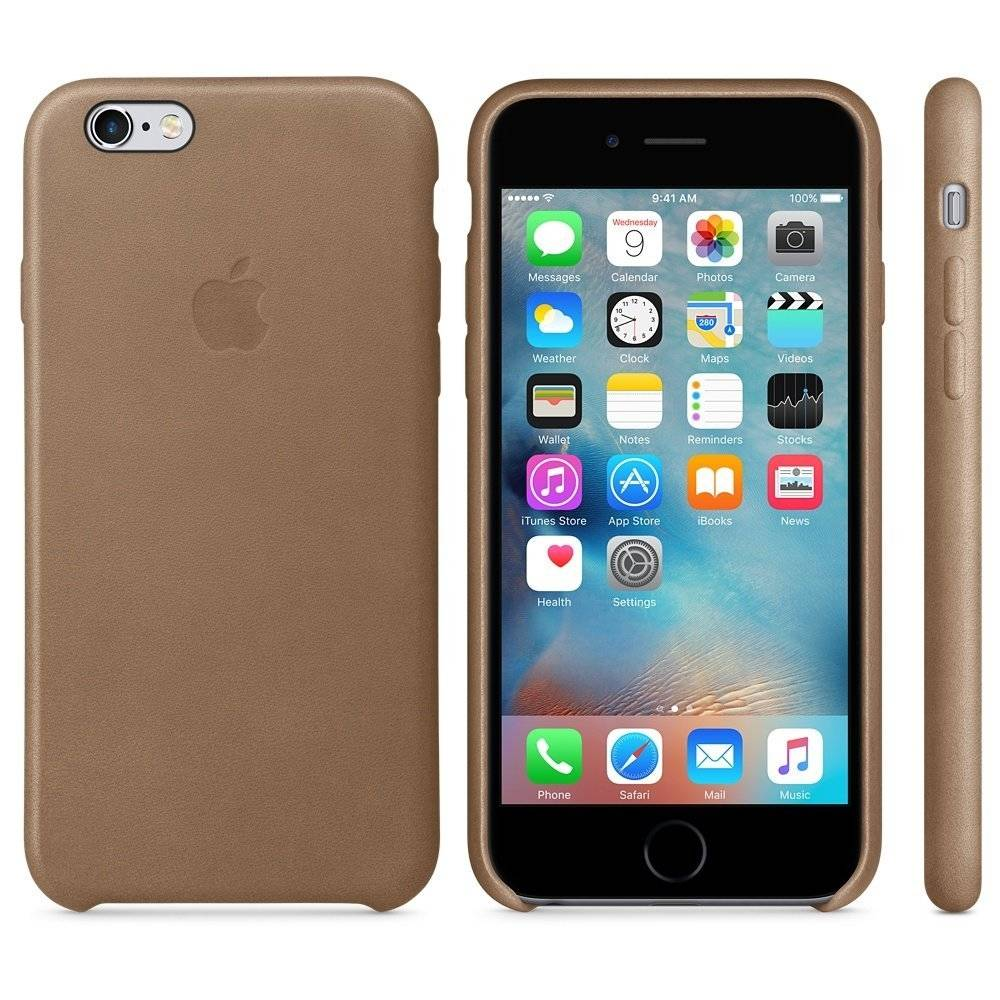 Capac protectie spate Apple Leather Case Premium Brown pentru iPhone 6s, MKXR2ZM A