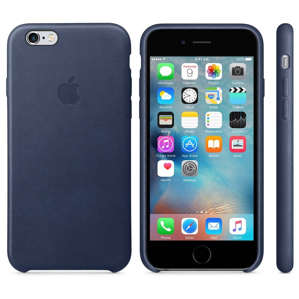 Capac protectie spate Apple Leather Case Premium Midnight Blue pentru iPhone 6s, MKXU2ZM A
