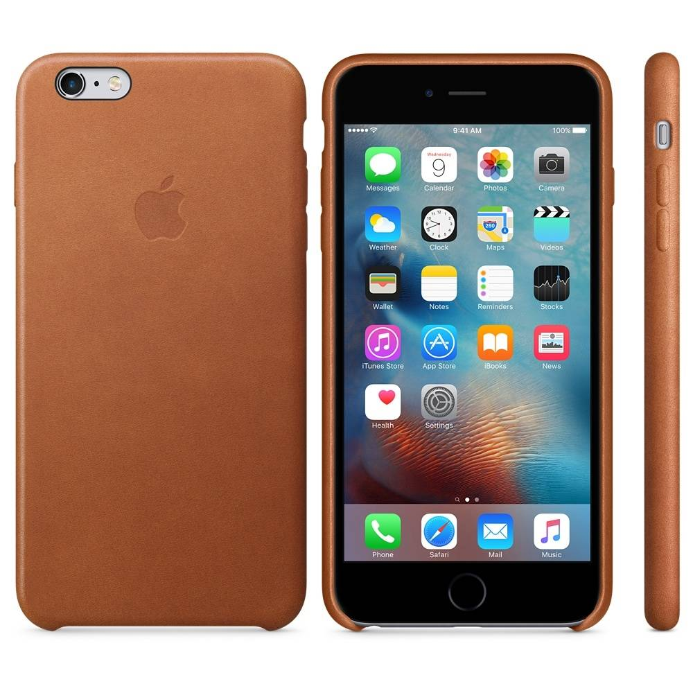Capac protectie spate Apple Leather Case Premium Saddle Brown pentru iPhone 6s Plus, MKXC2ZM A